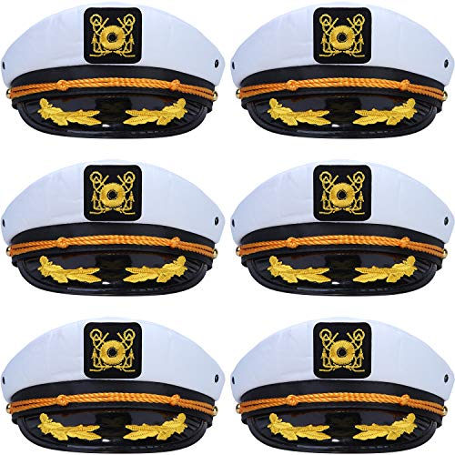 6 Pieces Yacht Captain Hats Adjustable Cotton