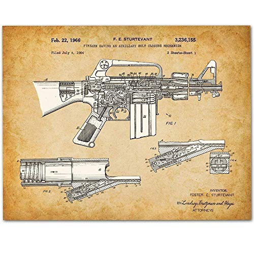 (M-16 Rifle - 11x14 Unframed Patent Print - Makes a Great Gift Under $15 for Military Soldiers/Veterans or Gun Enthusiasts )