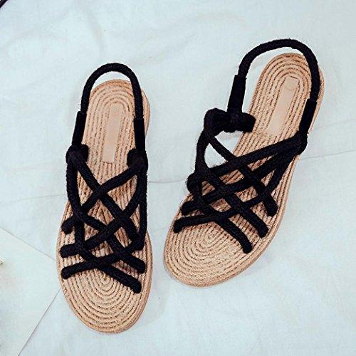 Ouneed® Damen Sandalen , Retro Damen Handgefertigt Hanf Stricken Schuhe Strand Gras Sandalen Schwarz