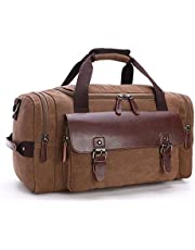Berchirly Canvas Leather Travel Bag Duffel Bag Overnight Weekender GMY Bag with Strap