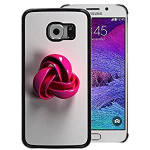 A-type Arte & diseño plástico duro Fundas Cover Cubre Hard Case Cover para Samsung Galaxy S6 EDGE (NOT S6) (Pink Plastic Grey Pattern Symbol Wool)