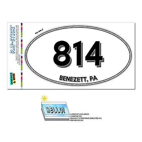 Graphics and More Area Code Oval Window Sticker 814 Pennsylvania PA Aaronsburg - Clarington - Benezett