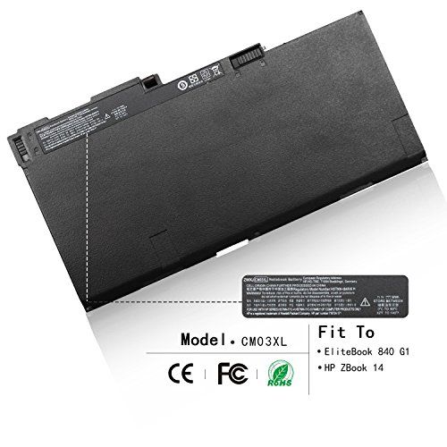 ZWXJ Laptop Battery CM03XL (11.1V 50Wh) for HP EliteBook 840 845 850 855 740 745 750 755 G1 G2 Series HSTNN-IB4R HSTNN-LB4R E7U24AA HP ZBook 14 G2 CM03050XL CO06 CO06XL CMO3 CMO3XL 717376-001