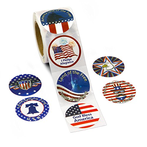 Cheap  ceiba tree 200 Pcs Patriotic Roll Stickers Perforation Line Design for 4th..