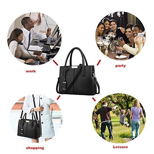 Utility Handbag Bag Pu Leather Women Life Black Satchel Handle Top Purse Vertical amp;e Tote Stylish B qw0AfA