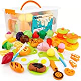 SONiKi 40Pcs Cutting Food Toys, Pretend Food Set with Storage Case, Kitchen Toy Set Fun Cutting Pizza Fruits Vegetable Omelette Family Playset Cutting toys For Girls Boys Early Age Educational Skills Development