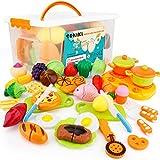 SONi 40Pcs Cutting Food Toys, Pretend Food Set with Storage Case, Kitchen Toy