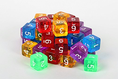 50 Six Sided Dice - Numbered Translucent Dice With At Least 5 Different Colors - 16mm Standard Size