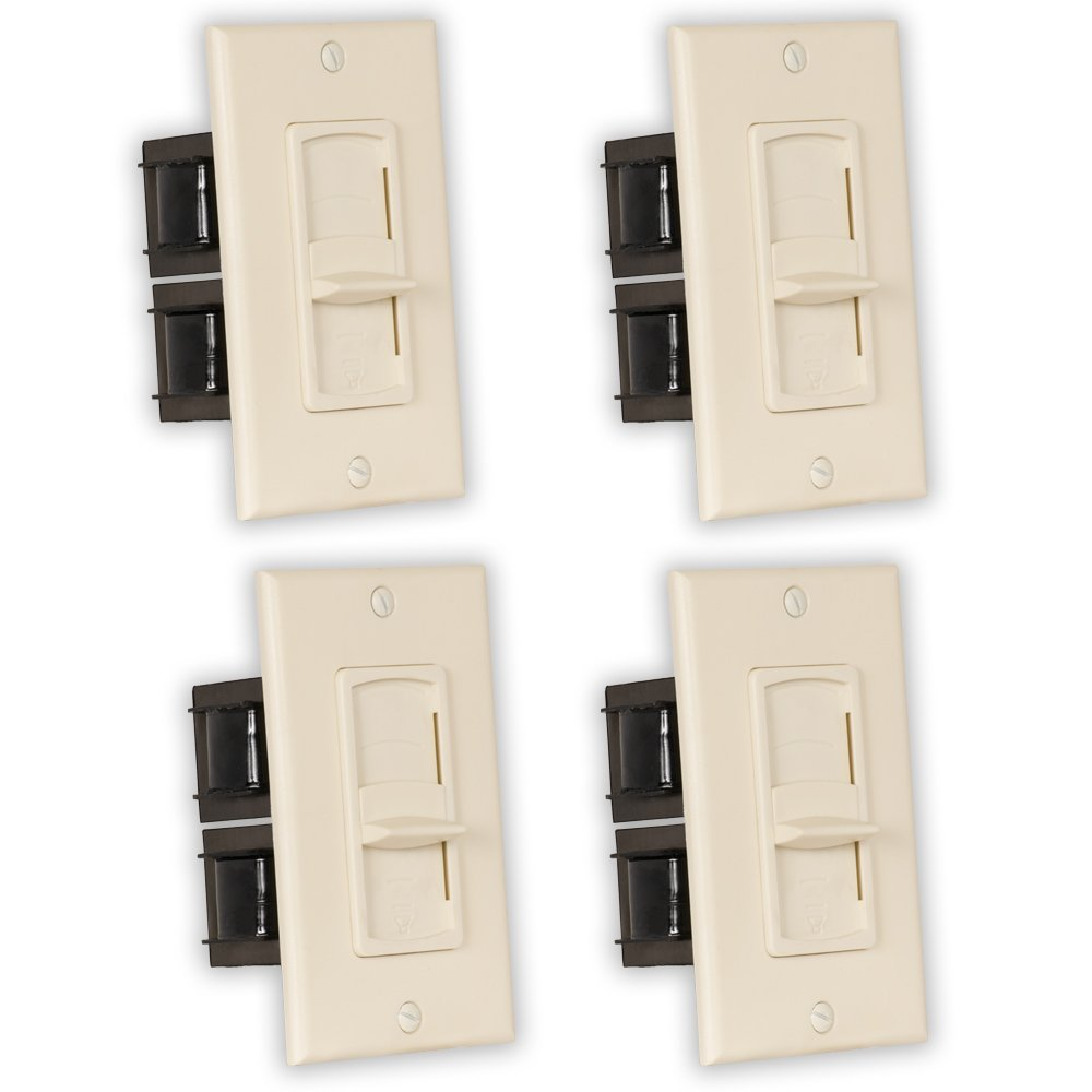 Theater Solutions TSVCS-A Indoor Speaker Volume Controls Almond Slide Audio Switches 4 Piece Pack by Theater Solutions