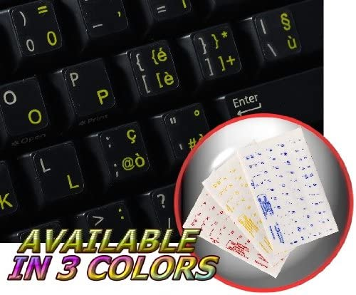 ITALIAN KEYBOARD STICKERS WITH YELLOW LETTERING TRANSPARENT BACKGROUND