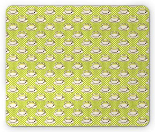 ntage Glasses Coffee Cups on Polka Dots Backdrop Kitchen Illustration, Standard Size Rectangle Non-Slip Rubber Mousepad, Yellow Green Ivory ()