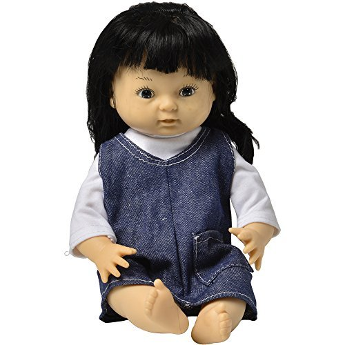 "Constructive Playthings 13"" Multi-Ethnic Asian Girl Doll with Moveable Head, Arms and Legs, Safe Painted Eyes and Durable Washable Clothes for Ages 19 Months and Up"