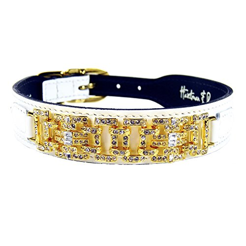 - Hartman & Rose Leather Dog Collar Gold Art Deco Design with Swarvoski Crystals and Adjustable Metal Buckle - Haute Couture Collection Jeweled Pet Collar White Patent, 16 to 18 Inch