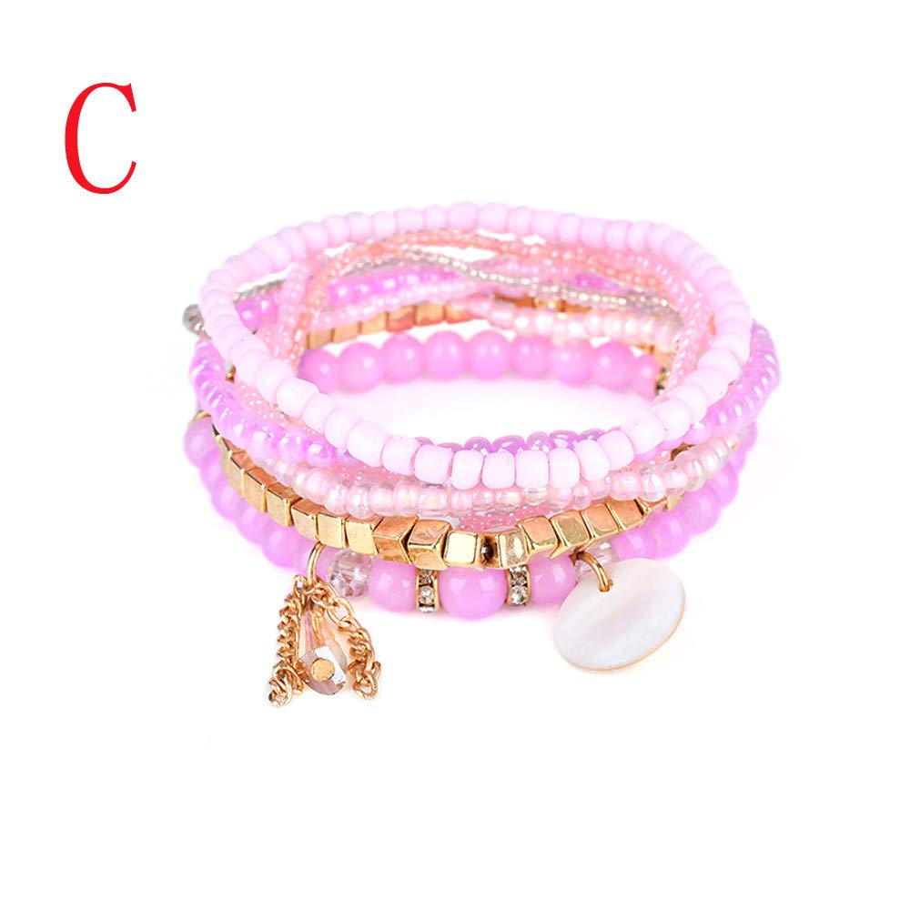 Dream_Mimi Cuff Bracelets for Women Collection 1 Set Stretch Acrylic Beaded Bohemian Lady Bracelet Bangle