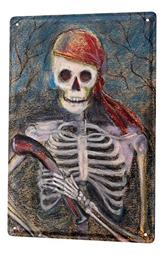 LEotiE SINCE 2004 Tin Sign Metal Plate Decorative Sign Home Decor Plaques Retro Skeleton Pirate