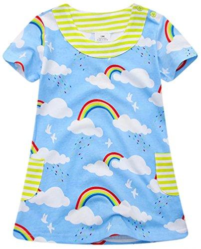 1973 Oi Little Girls Short Sleeve Nightgown Kids Long Nightdress Children Nightie Summer Blue 1 Pieces 100% Cotton 3T