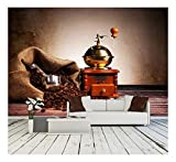 wall26 – Coffee Still Life with Wooden Grinder – Removable Wall Mural | Self-adhesive Large Wallpaper – 66×96 inches For Sale