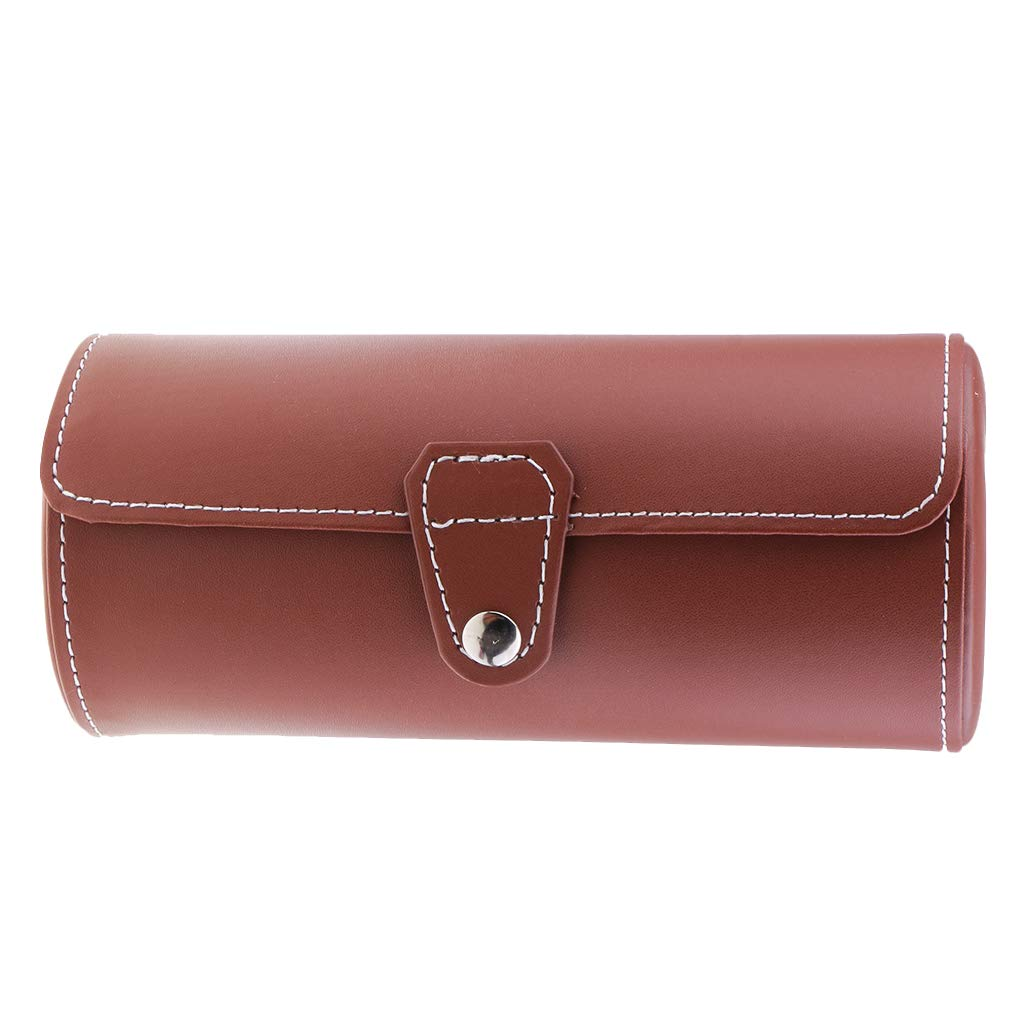 Prettyia Portable PU Leather Cylinder Roll Holder Wristwatch Case Travel Jewelry Box Brown