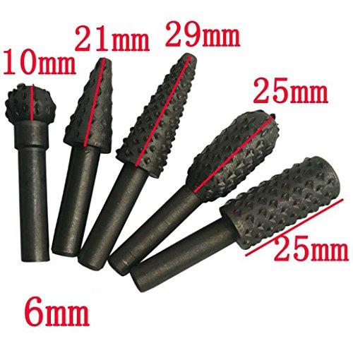Tool Drill Bit,Mailat 5 Pcs Black Steel Rotary Burr Set Shank Wood Rasp Drill Bits Bore Die Grinder (Black) (Bore Bit)