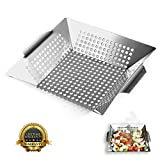 Image of Nonstick Stainless Steel Vegetable Grill Basket & Wok Topper with Carry Handles & Bonus Ebook for No Mess Stir Fry & Grilling Fish, Seafood, Veggies & Fruit by Luxury Grill Products, 12 x 12 x 2.24""