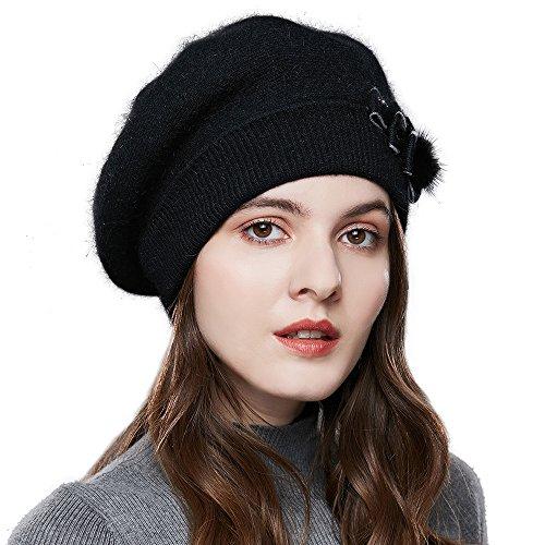 Angora Hat (SOMALER Winter Women French Beret 100% Angora Wool Beret Beanie (Black))