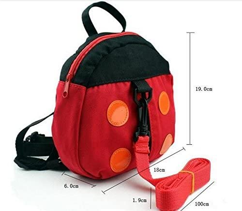 Red Ladybird Pattern Vikenner Toddler Children Anti Lost Backpack with Walking Reins Baby Safety Harness Rucksack Kids School Shoulder Bag with Detachable Strap for Boys Girls