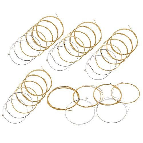 Acoustic Guitar Strings Nickel Alloy Strings Set, 6 Guitar Stings, E-010, B-013, G-023, D-030, A-036, E-046, Clear and Gold 5 Pack