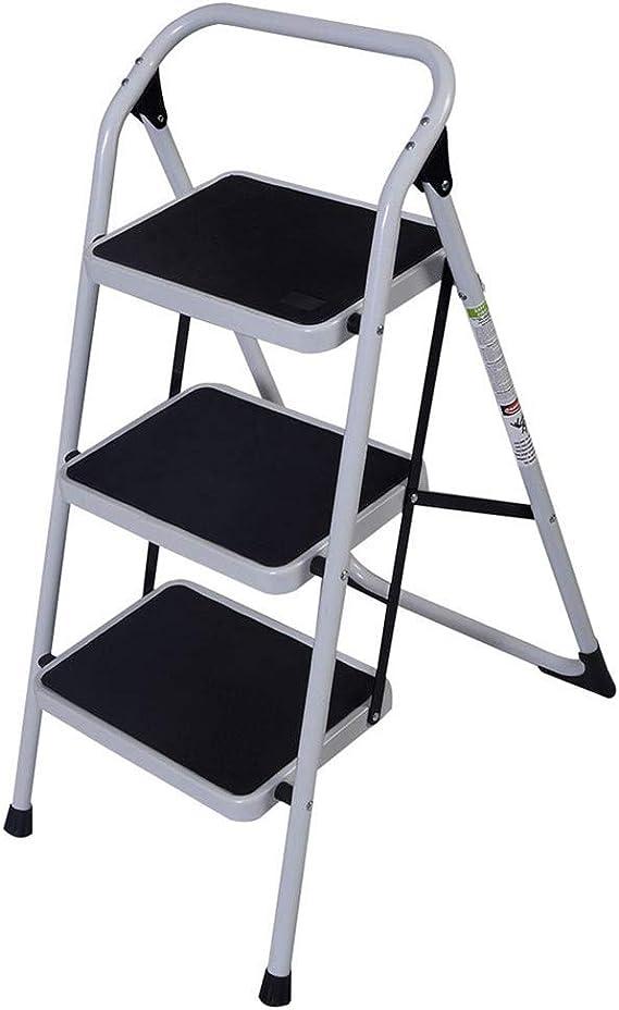 AKHAK - Escalera de hierro para pasamanos corta, 3 escalones, antideslizante, 3 escalones, pasamanos cortos, escalera, plegable, plataforma para tareas domésticas: Amazon.es: Bricolaje y herramientas