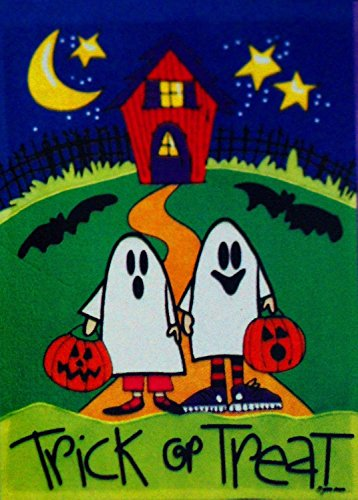 Double Sided Appliqued Garden Flag - Raininc's Trick or Treat Two Little Ghosts Fall Halloween Garden Flag - Appliqued Small 12.5 X 18 for Autumn Porch House Banner