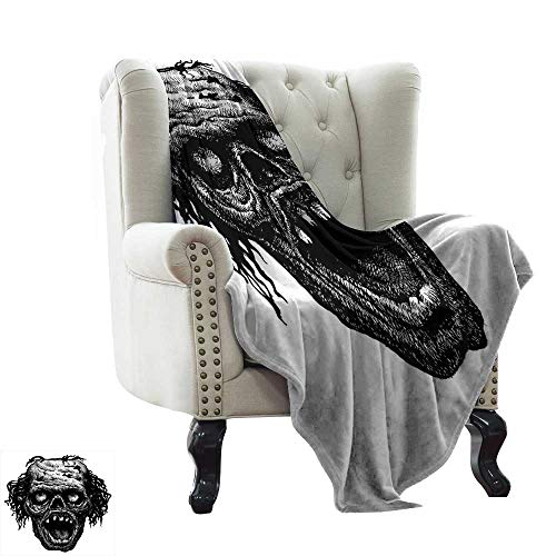 Puppy Blanket Halloween,Zombie Head Evil Dead Man Portrait Fiction Creature Scary Monster Graphic,Black Dark Grey Soft Summer Cooling Lightweight Bed Blanket 60