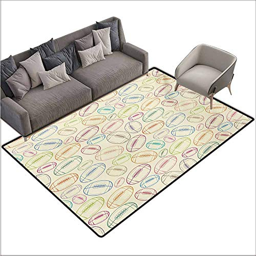 Floor Bath Rug American Football Grunge Looking Hand Drawn Style Sports Sketch with Colorful Retro Balls Quick and Easy to Clean W70 xL106 Multicolor
