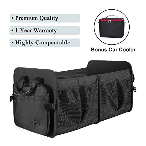 Foldable Cargo Trunk Organizer Washable Waterproof Storage with Reinforced Handles – Bonus Car Cooler – by MIU COLOR