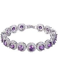 Ever Faith Silver-Tone Round Cubic Zirconia Birthstone Roman Tennis Bracelet
