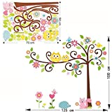 KathShop cute wise owls tree wall stickers for kids room decorations nursery cartoon children decals animals mural arts flowers colorful