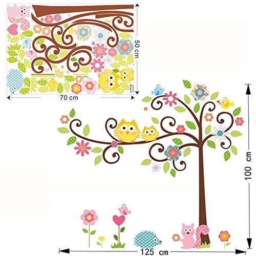 KathShop cute wise owls tree wall stickers for kids room decorations nursery cartoon children decals animals mural arts flowers colorful by KathShop