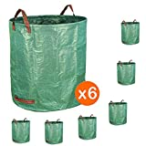 Gardzen 6-Pack 72 Gallon Bags - Reuseable Heavy Duty Gardening Bags, Lawn Pool Garden Leaf Waste Bag