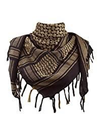 Explore Land 100% Cotton Military Shemagh Tactical Desert Keffiyeh Scarf Wrap (Black and Brown)