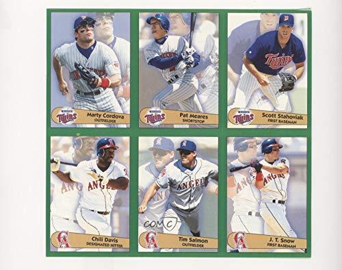 210 Salmon - Marty Cordova; Pat Meares; Scott Stahoviak; Chili Davis; Tim Salmon; J.T. Snow (Baseball Card) 1996 Panini Fleer Album Stickers - [Base] - Block of Six #201-202/204/208-210