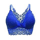 Lumumi_Lingerie Women's Lace Unlined Underwire Bra Vest Seamless Crop Top Breathable Wireless Bra (Blue, One Size)