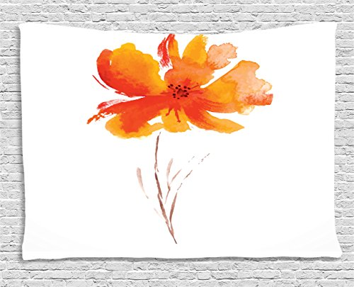 Ambesonne Watercolor Flower Tapestry, Single Poppy Flower on Plain Clear Background Nature Inspired Romantic, Wall Hanging for Bedroom Living Room Dorm, 80 W X 60 L Inches, White Orange