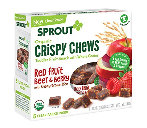 Sprout Organic Baby Food, Crispy Chews Organic Toddler Snacks, Red Berry & Beet Crispy Chews Fruit Snack, 0.63 Ounce (Box of 5), Gluten Free, Made with Whole Grains and Real Fruits & Vegetables