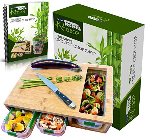 - Bamboo Cutting Board With Containers And Locking Lid. Extra Large Cutting Board Set With Trays For Quick And Easy Food Prep And Cleanup. Stackable Containers For Easy Storage And Transport