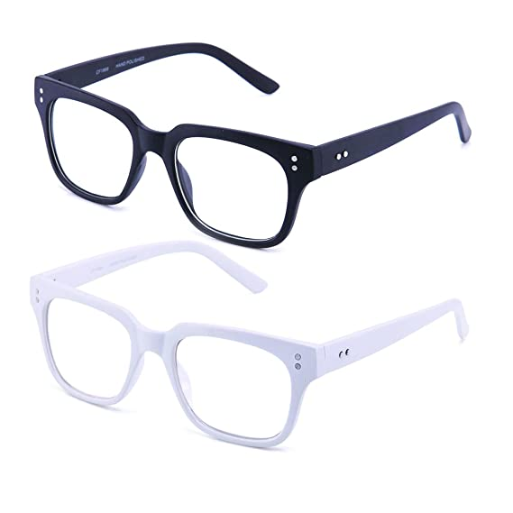 d809d139d9 Amazon.com  Newbee Fashion - Clear Frames Nerd Geek Squared Simple Fashion  Clear Glasses  Clothing