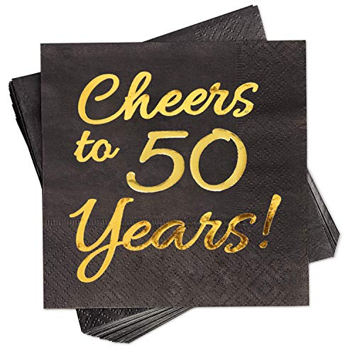 50th Birthday Decorations Party Supplies Cocktail Napkins Black 50 Pack,5