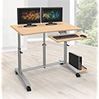 Balt Ergo Easy Sit Stand Workstation, 30.5-45.5 x 47.25 x 23.6, Teak Top with Platinum Base