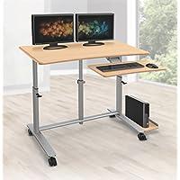 Balt Ergo Easy Sit Stand Workstation, 30.5-45.5 x 47.25 x 23.6, Teak Top with Platinum Base