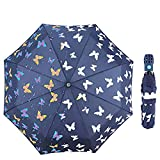 iMucci Butterfly Sun Block Compact Umbrella - Changing Color UV 40+ Travel Umbrella Auto Open Navy Blue