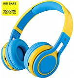 Pumpkin - Kid Safe Over the Ear Foldable Wireless Bluetooth Headphone w/ Volume Limiter, Built-in Micro Phone, Micro SD card Music Player, FM Stereo Radio, Audio Input & Output (Blue/Yellow)