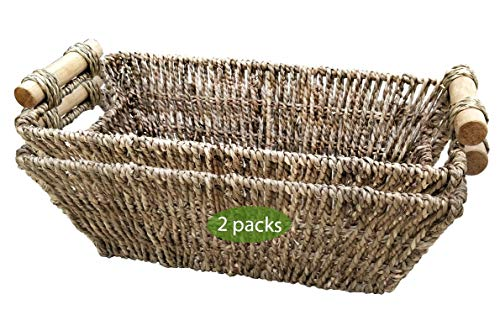 Wicker Baskets for Bathroom, Kitchen and Home Decor | Set of 2 Seagrass Baskets with Handles for Table, Toilet Tank Topper, Hand Towel, Paper Holder | Straw Wire Woven Little Pretty Baskets (Natural)
