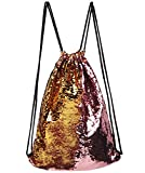 Cheap Mysticbags Mermaid Bag Sequin Drawstring Backpack Outdoor Shoulder Bag for Girls Pink Gold